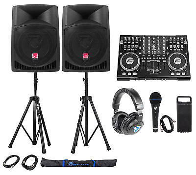 """Full DJ System Package w/Controller+Active 12"""" Speakers+Headphones+Mic+Stands"""