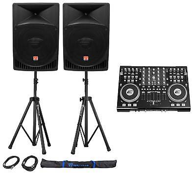 """DJ System Package: Controller, Active 12"""" Speakers, Stands, Cables, Carry Bag"""