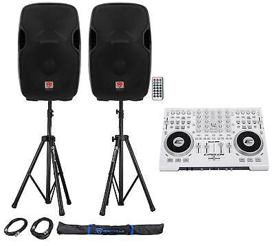 """DJ System Package w/Controller, Powered 12"""" Speakers, Stands, Cables, Carry Bag"""