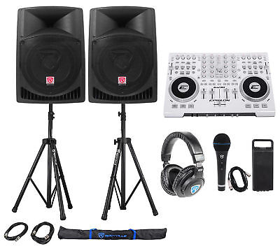 """Full DJ System Package: Controller+Active 12"""" Speakers+Headphones+Mic+Stands"""