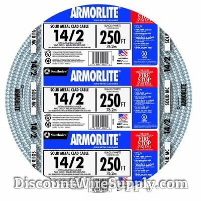 Southwire Armorlite 250' 14/2 Solid Aluminum MC Cable Wire Exposed/Concealed/Wet