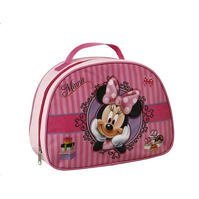DISNEY Sac à gouter rose lunch bag MINNIE rayures sacoche Neuf