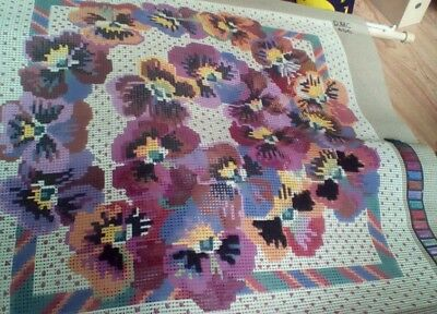DMC TAPESTRY CANVAS  PANSY GARLAND  50 X 50cm  Small Part Done With wooden frame