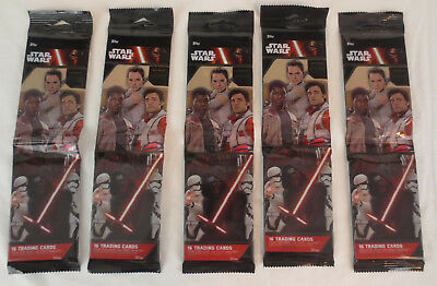 Topps Star Wars Force Awakens Series Lot of 5 16 Card Trading Packs SEALED NEW