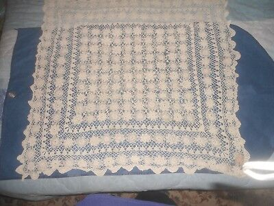 "A Gorgeous Beige Hand Crocheted Tablecloth 36"" X 34"""