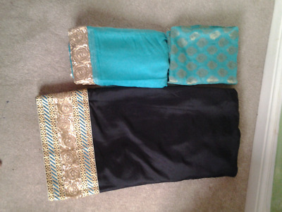 black and blue asian suit material with border