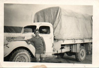 British Soldier Stood In Front Of Truck In 1942 Military Photograph