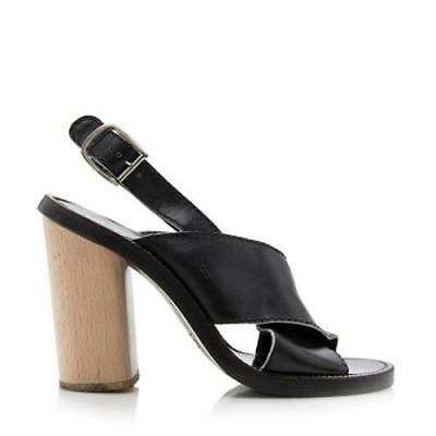 1d32b1808af CHLOE BLACK LEATHER Wood Heel Sandal EU 40 -  75.00