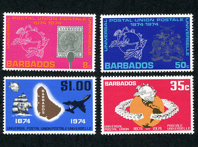 BARBADOS 1974 Cent. of Universal Postal Union, SET OF 4, MINT Never Hinged