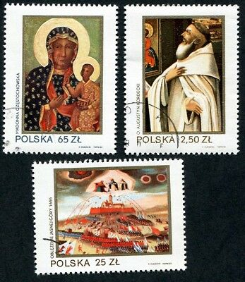 POLAND 1982 600th Anniv of Black Madonna, SET OF 3, USED Never Hinged