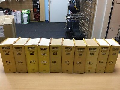 WISDEN Cricketers' Almanack 1980-1989 (10 books)