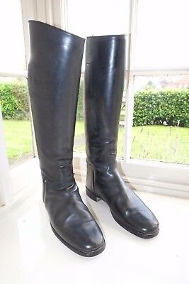 GOOD QUALITY MENS BLACK LEATHER RIDING BOOTS UK 8 US 8.5 EU 42 hunting polo