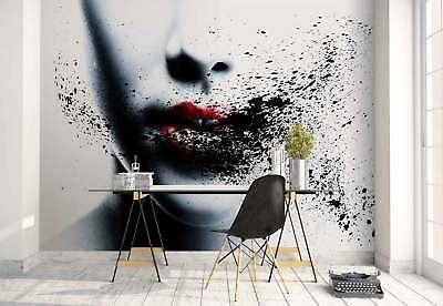 Woman Face Red Lips Smudges Photo Wallpaper Wall Mural (1X-56644)