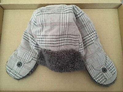 Boys Mini Mode Warm Grey Lined Hat With Ear Covers size  2-4 years