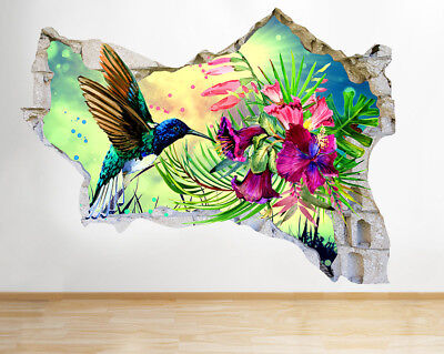 J367 Humming Bird Flowers Nature Smashed Wall Decal 3D Art Stickers Vinyl Room