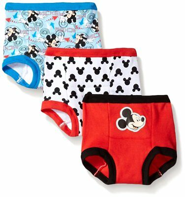 3 Pack Disney Little Boys Toddler Mickey Potty Training Pants Assorted 3T Cotton