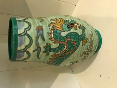 Rare Crown Ducal Deco Charlotte Rhead Signed Green Manchu Dragon Vase - REDUCED