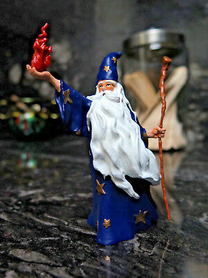 Halloween Wizard Figurine Medieval 1999 Papo Blue Gold Stars Fire Staff CE Toys