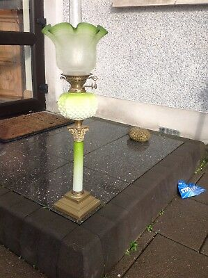 Rare Victorian  Green Oil Lamp