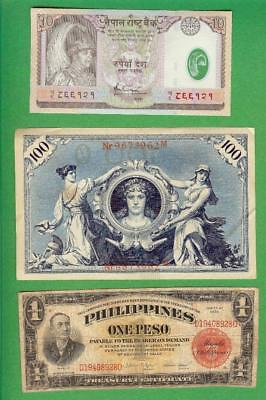Germany , Nepal & Philippines ~  3 X  Paper Money Lot  # 1642  (*-*)