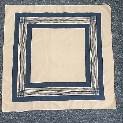 "Rare Vintage Ascher 100% Cotton Scarf Square In Light Brown & Black 26"" X 26"""