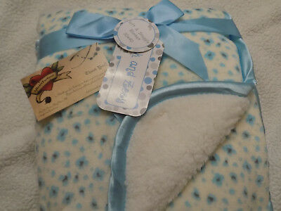 Zak Zoey Blanket White With Blue Spots Sherpa Reversible Velour Baby Thick Warm