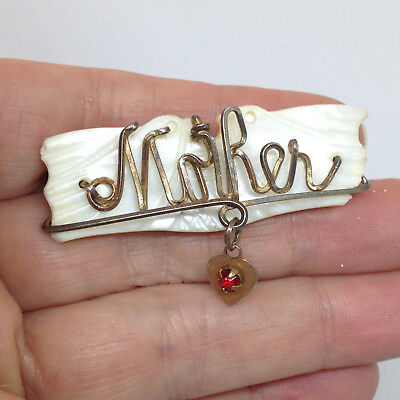 Vintage MOP MOTHER PIN BROOCH Carved Mother of Pearl Red Rhinestone Gold Tone