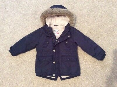 Boys Next Borg Lined Warm Winter Parka Coat Jacket Baby Toddler Size 2-3 Years