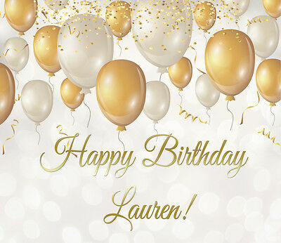 -LARGE- Gold personalised balloons themed/ birthday party banner -120cmx140 cm -