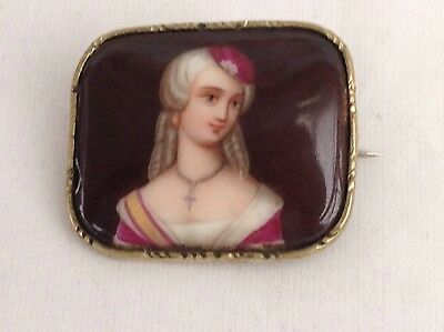 Antique Enamelled Hand Painted Portrait Brooch, Gold Plated Mount.