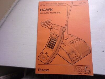 BT HAWK CORDLESS TELEPHONE Field Staff Guide Notes booklet September 1983