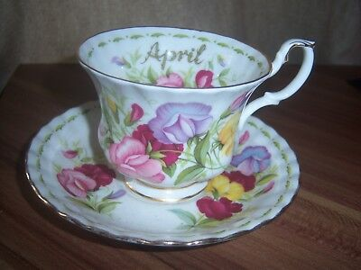 ROYAL ALBERT  flowers of the month  CUP AND SAUCER  APRIL
