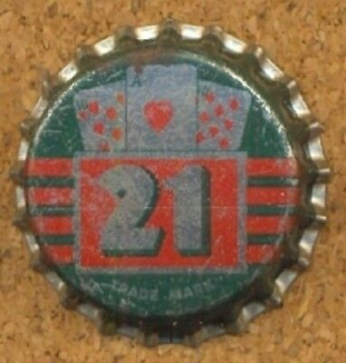 21 (PLAYING CARDS) Soda Bottle Cap Crown UNUSED CORK Caps from COLLECTION