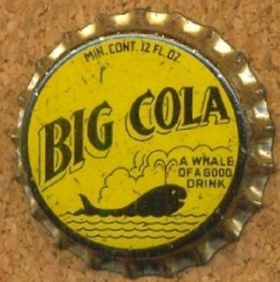 BIG COLA WHALE of a Good Drink Soda Bottle Cap Crown UNUSED CORK from COLLECTION
