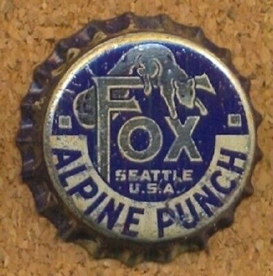 FOX ALPINE PUNCH SEATTLE Soda Bottle Cap Crown UNUSED CORK Caps from COLLECTION