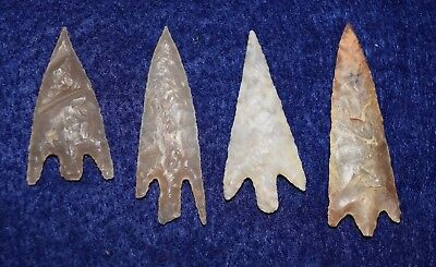 4 nice, good-sized,  barbed Sahara Neolithic  stemmed points