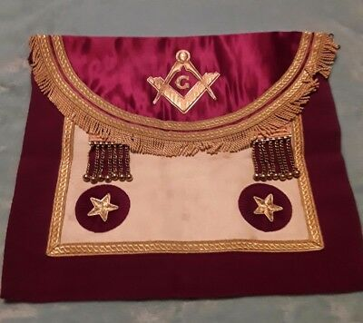 masonic apron Maroon colours with Square and Compasses on the front