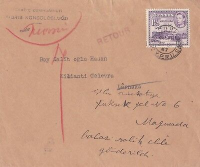 Cyprus 1947 Returned Cover by Turkish Consulate Nicosia INCONNU RETOUR marks