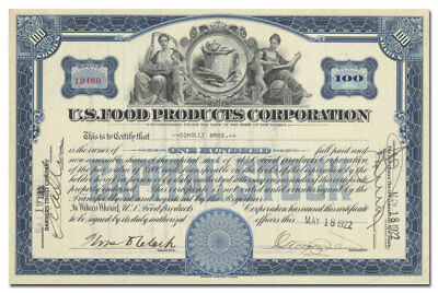 U. S. Food Products Corporation Stock Certificate (Great Corn Vignette!)