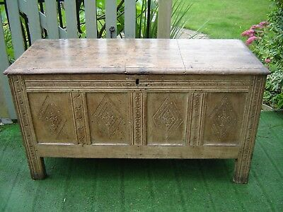 18c Limed Oak four -panel coffer