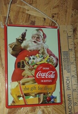 Metal Sign COCA-COLA Coke Collectible Santa Claus Christmas Decor