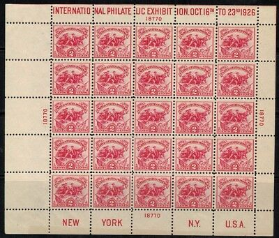 United States #630 Sheet of 25 1926 MLH