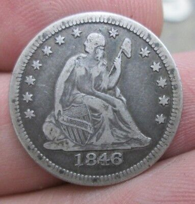 1846-P Seated Liberty Silver Quarter Nice No Reserve