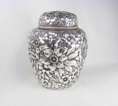 American Sterling Silver Repousse Tea Caddy by BAILEY BANKS AND BIDDLE.