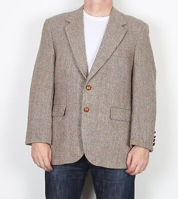 "Harris Tweed 42"" Medium Large  Jacket Blazer Beige Brown    (9AC)"