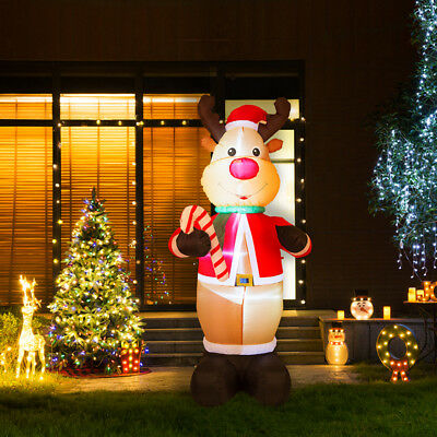 Glitzhome 7.87FT Christmas Reindeer LED Light Inflatable Airblown Yard Decor New