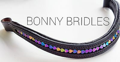 Straight or Curve Rainbow Heart Browband
