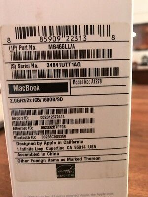"""Very Good Condition Apple MacBook A1278 13.3"""" Laptop - MB466LL/A (October, 2008)"""