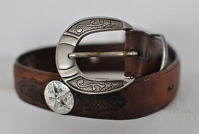 Double S Western Leather & Conchos Belt Brown Cowboy Cowgirl Youth Small 18""