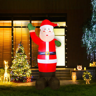 Glitzhome 8.14FT Christmas Santa Clause LED Light Inflatable Airblown Yard Decor